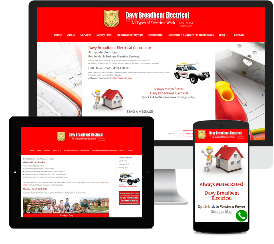 Davy Broadbent Electrical Website Designed by Liz Maclean