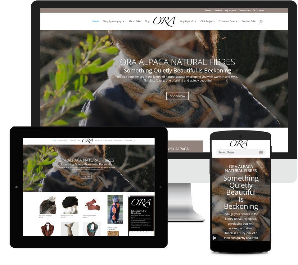 Ora Alpaca Designz Website Designed by Liz Maclean